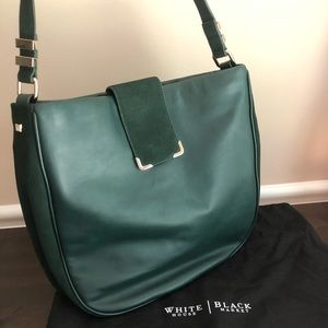 WHBM NWOT Dk Forrest Green Leather & Suede Hobo